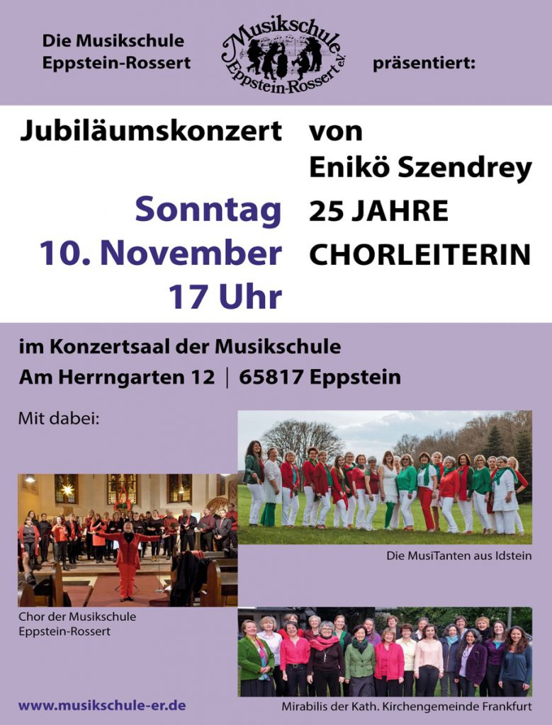 Plakat Jubiläumskonzert von Enikö Szendrey